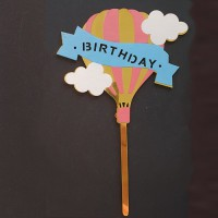Cake topper happy birthday luchtballon goud
