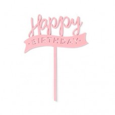 Cake topper Happy birthday flag roze