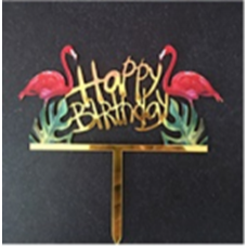 Cake topper Happy birthday flamingo
