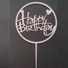 Cake topper Happy birthday rond hartje roze